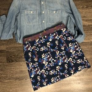 anthropologie navy/purple floral mini skirt sz 8